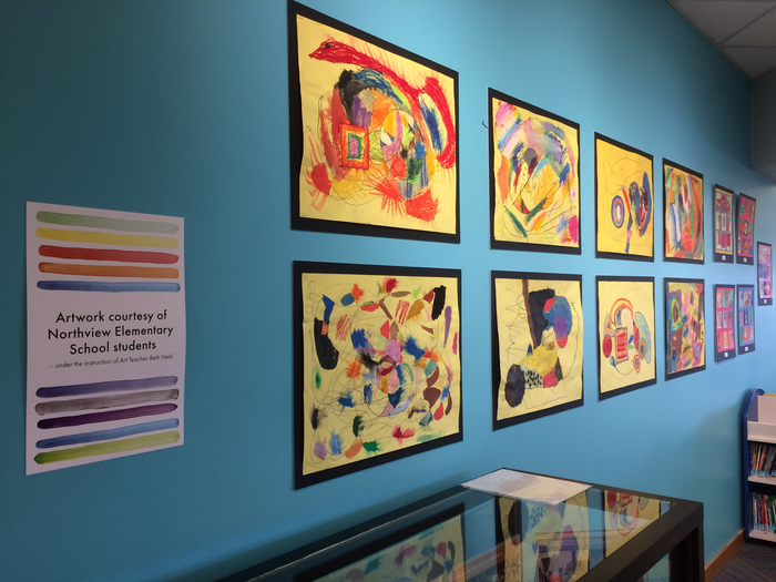 Art on display at the Mead Public Library.