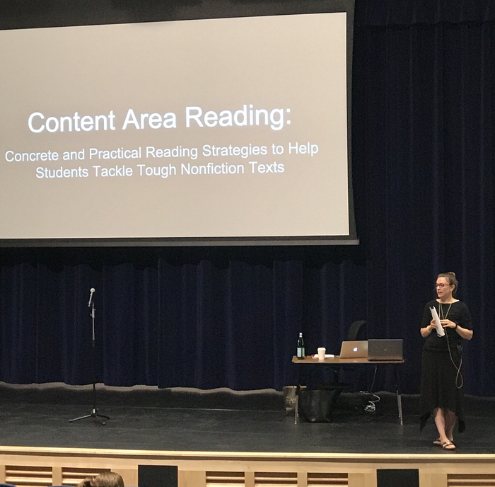 Maggie B. Roberts delivers her keynote about literacy in the classroom.